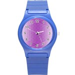 Abstract Lines Background Round Plastic Sport Watch (S) Front