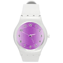 Abstract Lines Background Round Plastic Sport Watch (m)