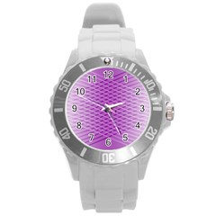 Abstract Lines Background Round Plastic Sport Watch (l)