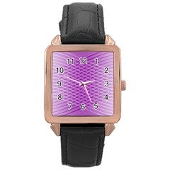 Abstract Lines Background Rose Gold Leather Watch