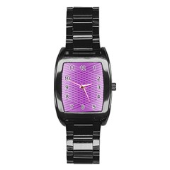 Abstract Lines Background Stainless Steel Barrel Watch