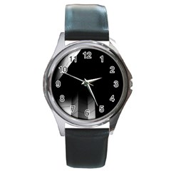 Wall White Black Abstract Round Metal Watch