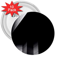 Wall White Black Abstract 3  Buttons (10 Pack)