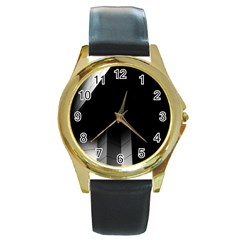 Wall White Black Abstract Round Gold Metal Watch