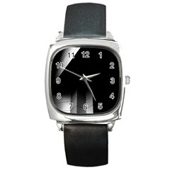 Wall White Black Abstract Square Metal Watch