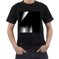 Wall White Black Abstract Men s T Shirt (black) (two Sided)