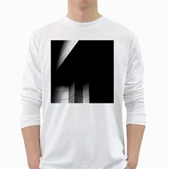 Wall White Black Abstract White Long Sleeve T Shirts