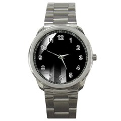 Wall White Black Abstract Sport Metal Watch