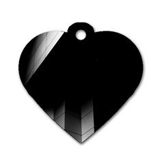 Wall White Black Abstract Dog Tag Heart (two Sides)