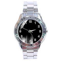 Wall White Black Abstract Stainless Steel Analogue Watch