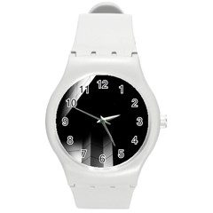 Wall White Black Abstract Round Plastic Sport Watch (M)