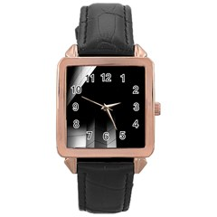 Wall White Black Abstract Rose Gold Leather Watch