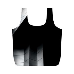 Wall White Black Abstract Full Print Recycle Bags (M)