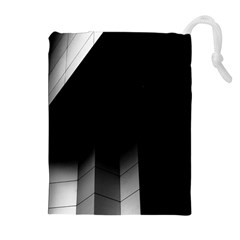 Wall White Black Abstract Drawstring Pouches (extra Large)
