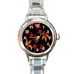 Colorful Autumn Leaves On Black Background Round Italian Charm Watch
