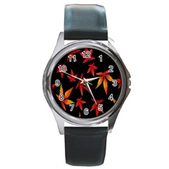 Colorful Autumn Leaves On Black Background Round Metal Watch