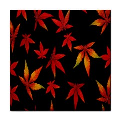 Colorful Autumn Leaves On Black Background Tile Coasters
