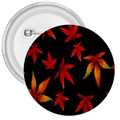 Colorful Autumn Leaves On Black Background 3  Buttons