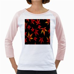 Colorful Autumn Leaves On Black Background Girly Raglans