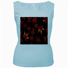Colorful Autumn Leaves On Black Background Women s Baby Blue Tank Top