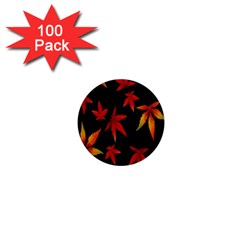 Colorful Autumn Leaves On Black Background 1  Mini Buttons (100 Pack)