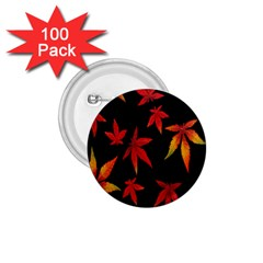 Colorful Autumn Leaves On Black Background 1 75  Buttons (100 Pack)