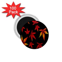 Colorful Autumn Leaves On Black Background 1 75  Magnets (100 Pack)