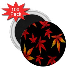 Colorful Autumn Leaves On Black Background 2 25  Magnets (100 Pack)