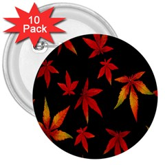 Colorful Autumn Leaves On Black Background 3  Buttons (10 Pack)