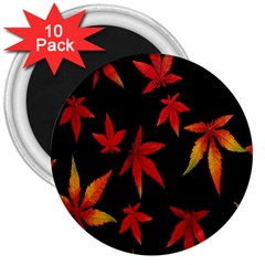 Colorful Autumn Leaves On Black Background 3  Magnets (10 Pack)
