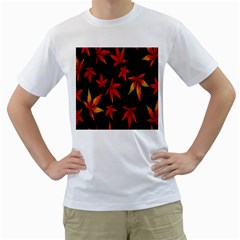 Colorful Autumn Leaves On Black Background Men s T-Shirt (White) (Two Sided)