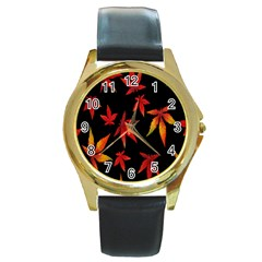 Colorful Autumn Leaves On Black Background Round Gold Metal Watch