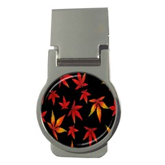 Colorful Autumn Leaves On Black Background Money Clips (round)