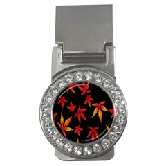 Colorful Autumn Leaves On Black Background Money Clips (CZ)