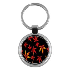 Colorful Autumn Leaves On Black Background Key Chains (round)