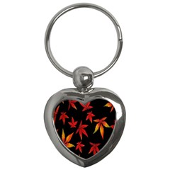 Colorful Autumn Leaves On Black Background Key Chains (heart)