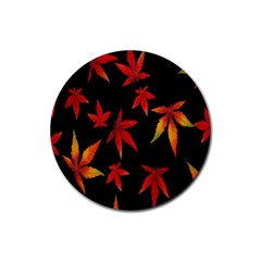 Colorful Autumn Leaves On Black Background Rubber Coaster (Round)