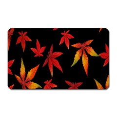 Colorful Autumn Leaves On Black Background Magnet (rectangular)