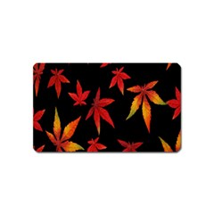 Colorful Autumn Leaves On Black Background Magnet (Name Card)
