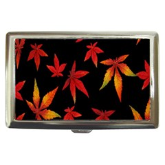 Colorful Autumn Leaves On Black Background Cigarette Money Cases