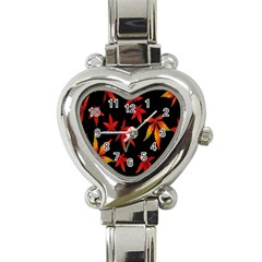 Colorful Autumn Leaves On Black Background Heart Italian Charm Watch
