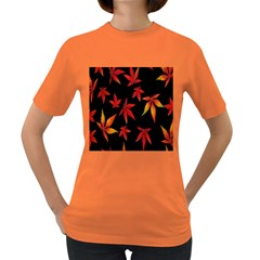 Colorful Autumn Leaves On Black Background Women s Dark T Shirt