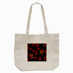 Colorful Autumn Leaves On Black Background Tote Bag (Cream)