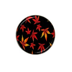Colorful Autumn Leaves On Black Background Hat Clip Ball Marker (4 pack)