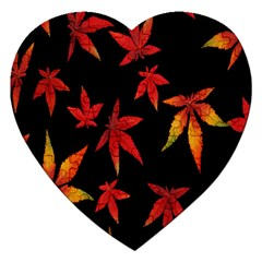 Colorful Autumn Leaves On Black Background Jigsaw Puzzle (heart)