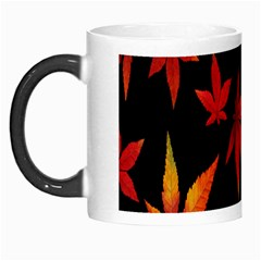 Colorful Autumn Leaves On Black Background Morph Mugs