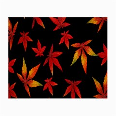 Colorful Autumn Leaves On Black Background Small Glasses Cloth