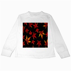 Colorful Autumn Leaves On Black Background Kids Long Sleeve T Shirts