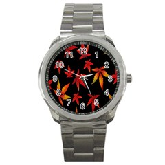 Colorful Autumn Leaves On Black Background Sport Metal Watch