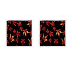 Colorful Autumn Leaves On Black Background Cufflinks (square)